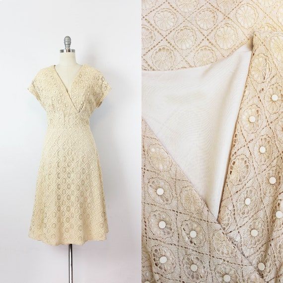 vintage 50s dress / 1950s spiderweb lace dress / w