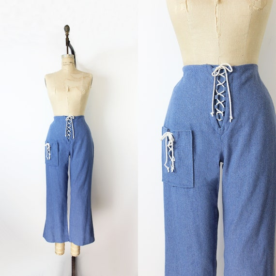 vintage 70s pants / 1970s lace up sailor pants / l