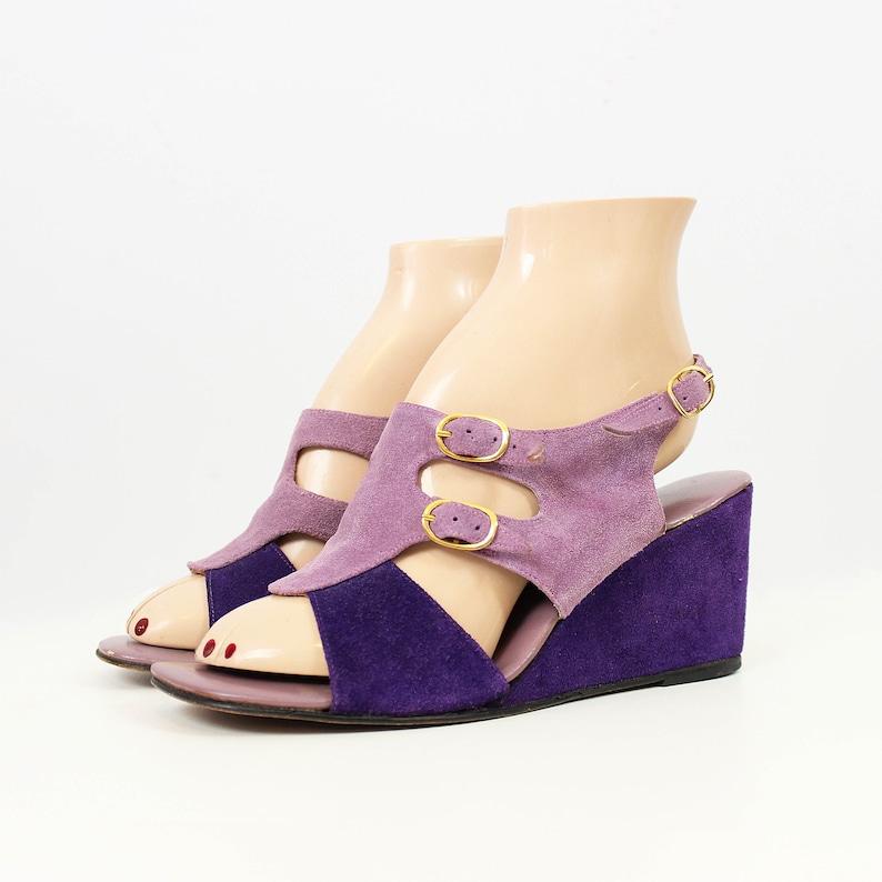 6f971c412189ba SOLD ON LAYAWAY   vintage 70s wedge sandals   1970s purple