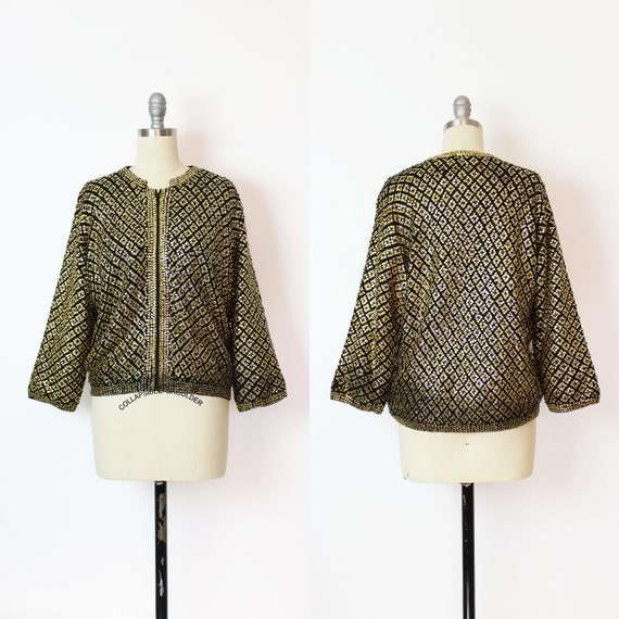 vintage 50s cardigan / 1950s sequined cardigan / g