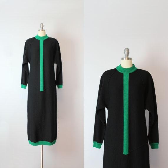 vintage colorblock knit dress / 1980s BERN CONRAD