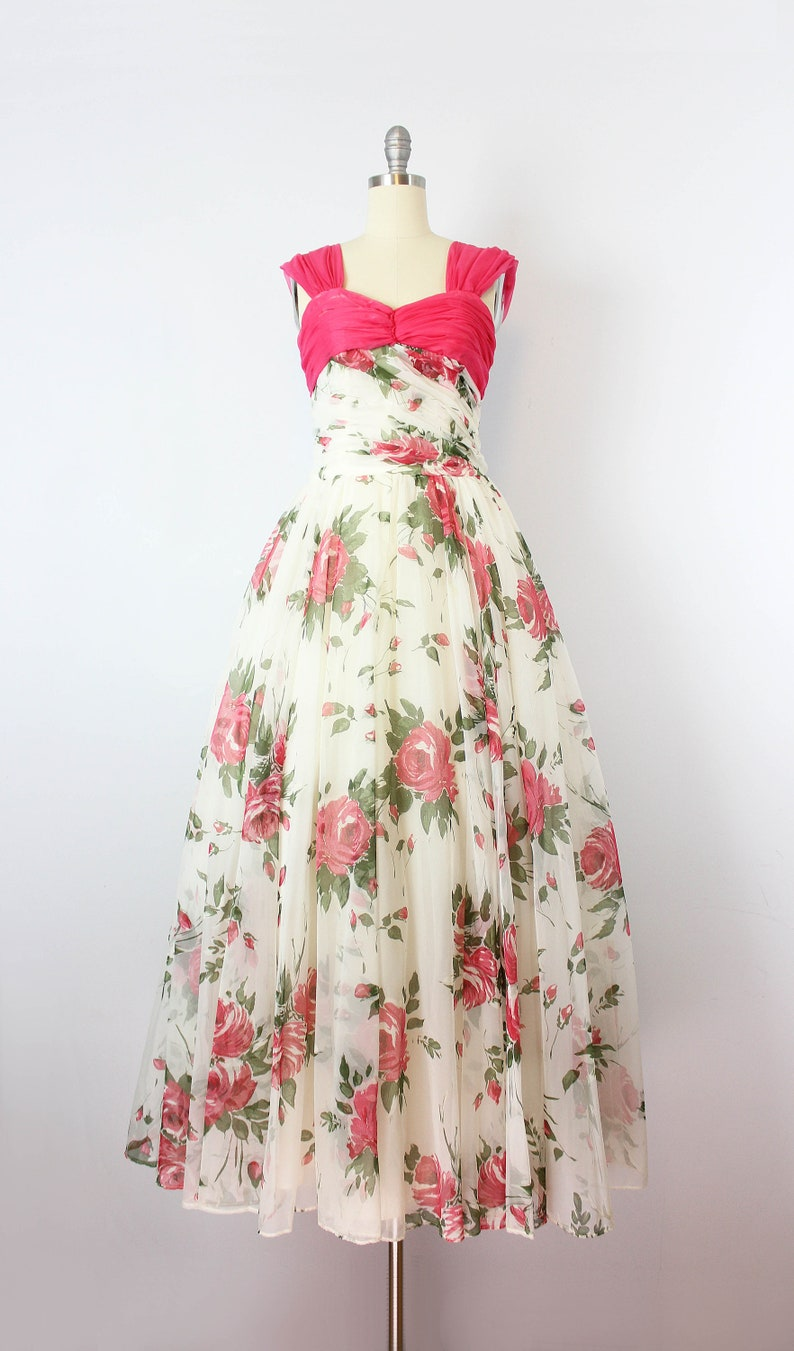 f97ea9140be Vintage 50s floral party dress   1950s floral chiffon dress