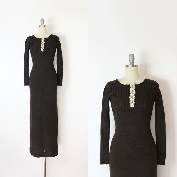 vintage 70s dress / 1970s knit maxi dress / 70s f… - image 1