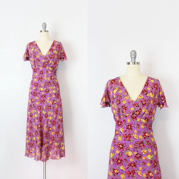 vintage 90s floral chiffon dress / 1990s BETSEY JO