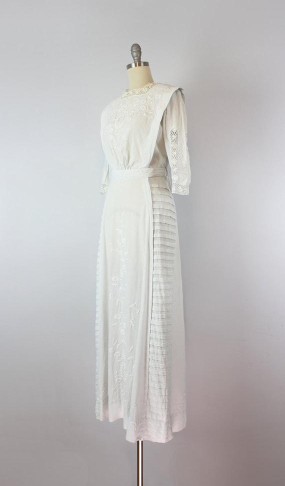 antique white cotton dress / 1910s lawn dress / E… - image 3