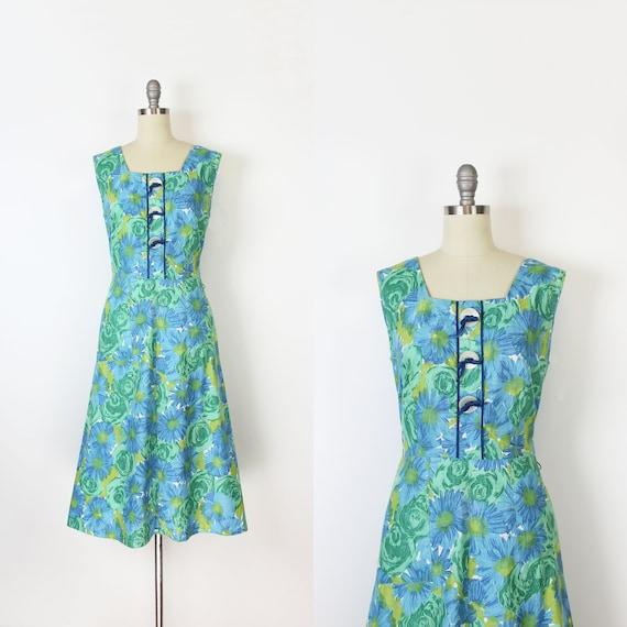 vintage 50s dress / 1950s floral sundress / blue g