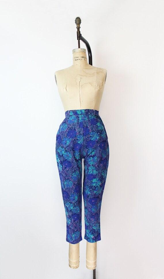 vintage 50s pants / 1950s floral corduroy pants /… - image 2