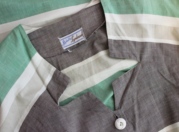 vintage 40s dress / 1940s striped cotton dress / … - image 7