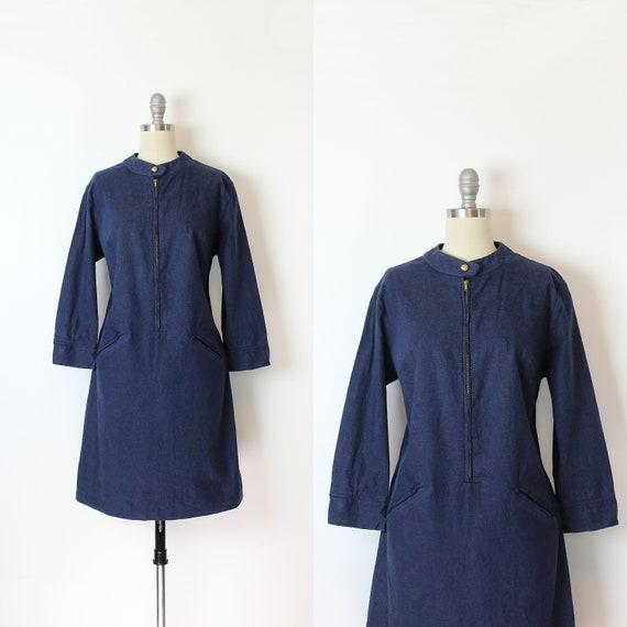 vintage 70s dress / 1970s denim dress / THERMO JAC