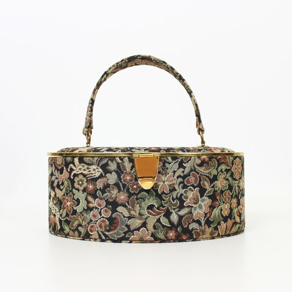 vintage 50s purse / 1950s tapestry box purse / nov