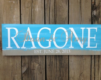 Personalized family name sign. Beach sign. Family sign. Custom name sign. Custom wood sign. Custom Family sign. Home decor. Established