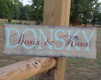 Wedding Established Sign. Personalized Family name sign.