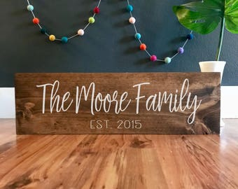 Established sign. Personalized family name sign. Family sign. Wedding sign. Names sign. Custom wood sign. Custom Family sign. Family plaque