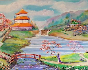 Asia Garden Oil, Asian Landscape, Peaceful Meditation, Temple Gardens, Pagoda, Woman by Bridge, Lotus Flowers on Pond, 36,24, Dan Leasure