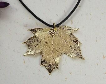 Real Maple leaf gold pendant necklace 0UfmDe