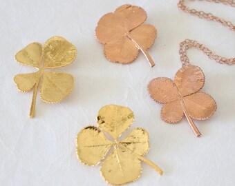 SALE Four Leaf Clover Necklace, Silver 4 Leaf Clover, Rose Gold Leaf, Gold 4 Leaf Clover, Pink Leaf, Real Clover Pendant, SALE347