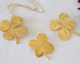 SALE Four Leaf Clover Necklace, Yellow 4 Leaf Clover, Real Leaf, Gold 4 Leaf Clover, Real Clover Pendant, SALE346