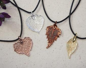 SALE Leaf Necklace, Real Leaf Necklace, Gold Leaf, Silver Leaf, Copper, Christmas Gift, Holiday, Gift Set, Teacher Gift, Bookmark, SALE44
