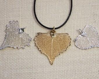 SALE Leaf Necklace, Silver Cottonwood Leaf, Silver Leaf, Real Leaf Necklace, Gold Leaf, Boho Necklace, Silver Leaf Pendant, SALE147