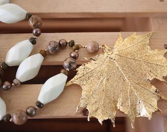 SALE Real Leaf Necklace Sugar Maple Gemstone Gold