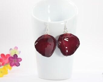 SALE Rose Petal Earrings, Red Earrings, Real Rose Petal Earrings, Large Rose Petals, Burgundy Rose Petals, Real Rose Petal Jewelry SALE277