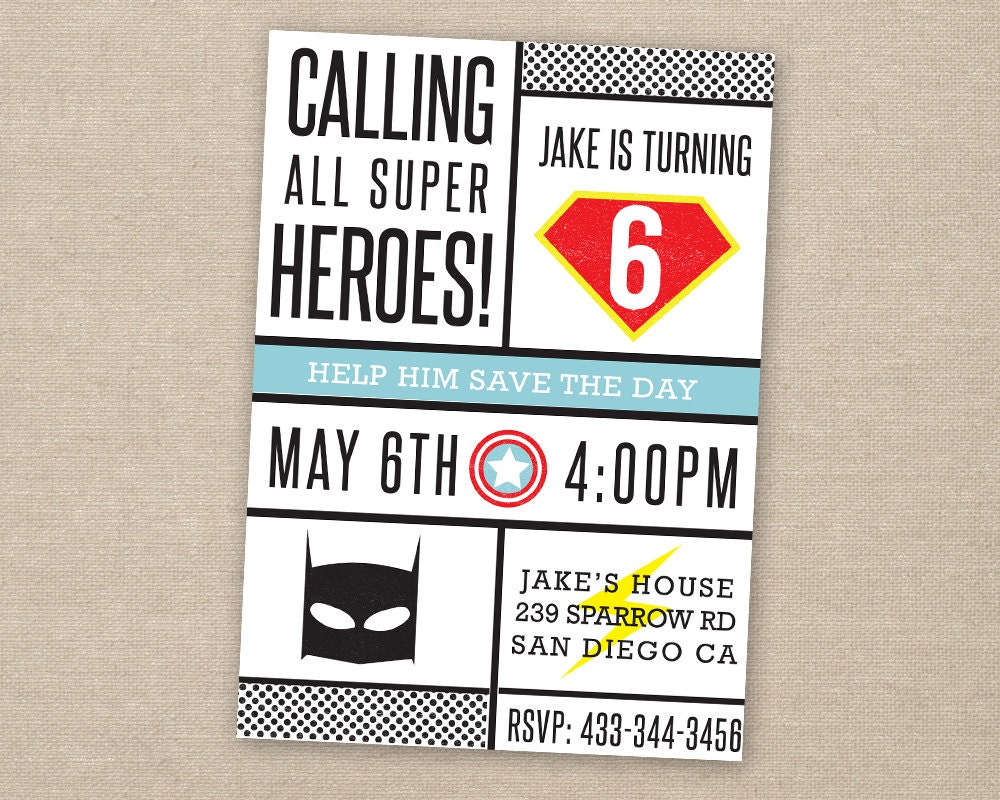 superhero invitation super hero party superhero birthday | Etsy