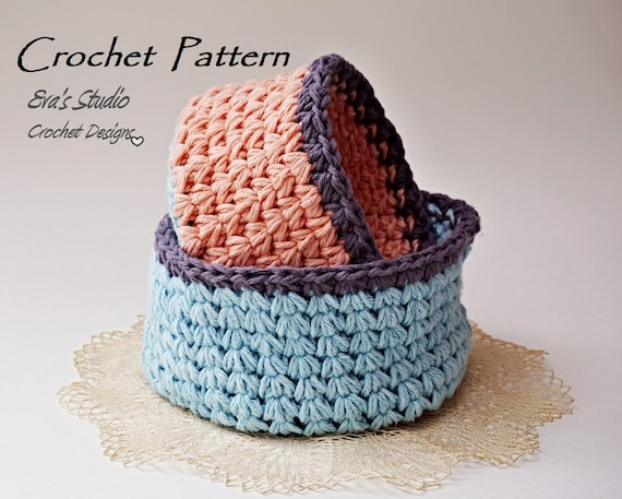 Crochet Basket Crochet Pattern Easy Crochet Pattern Pdf Etsy