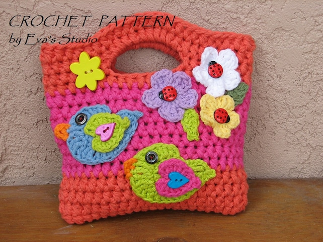 Girls Bag Purse With Birds And Flowers Crochet Pattern Etsy
