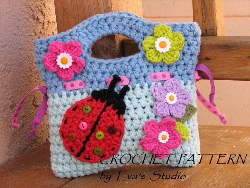 Girls Bag Purse With Ladybug And Flowers Crochet Pattern Etsy