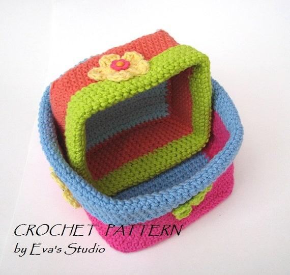 Crochet Square Baskets Two Sizes Crochet Pattern Easy Etsy