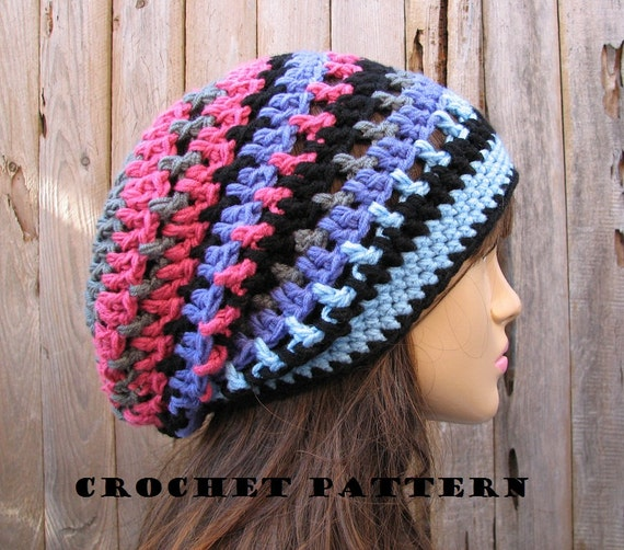 Crochet Hat Pattern Slouchy Hat Crochet Pattern Pdfeasy Etsy