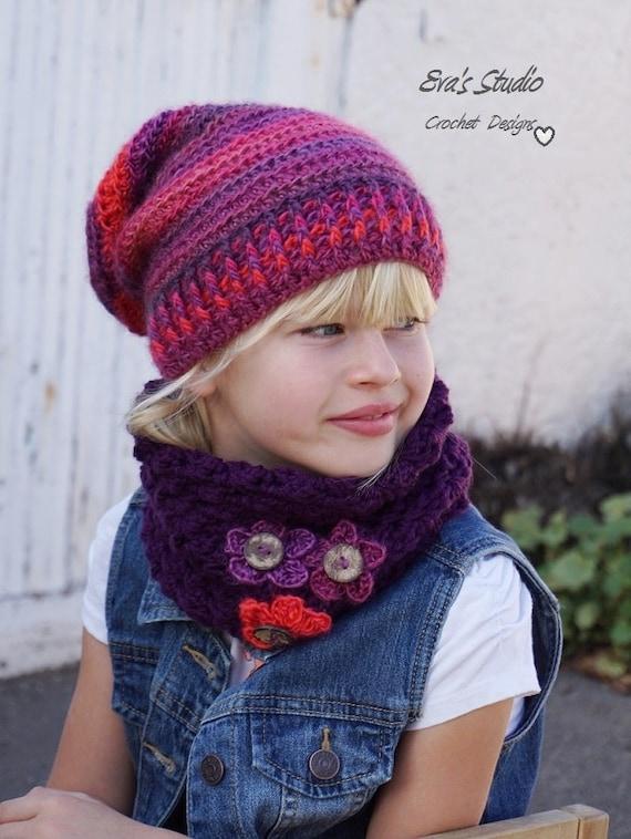 Crochet Children\'s Hat and Neck Warmer, Crochet Set, Pattern PDF ...