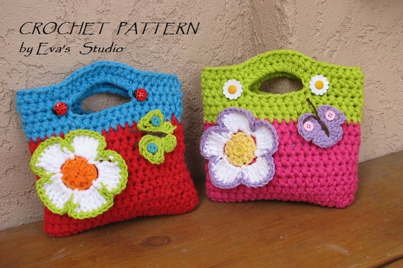 Girls Bag Purse With Large Flower And Butterfly Crochet Etsy