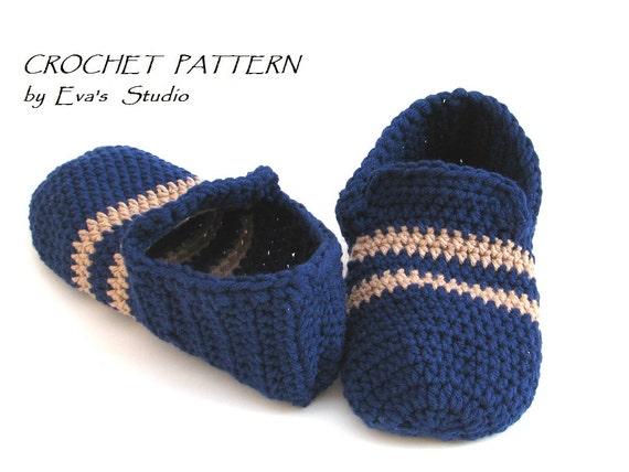 Crochet Pattern Mens Slippers Pdfeasy Great For Etsy