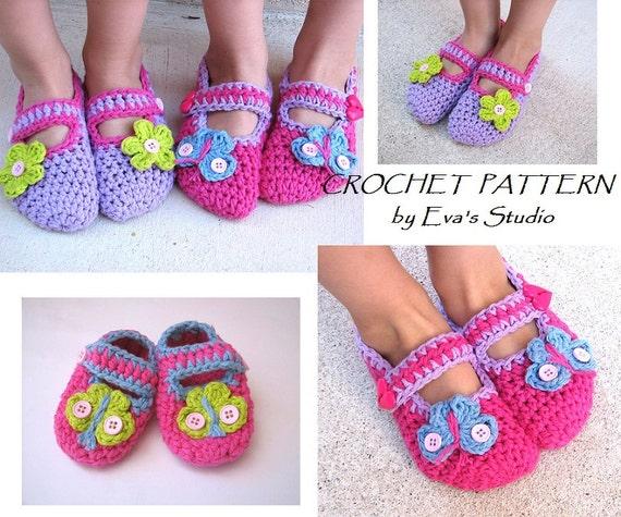 Childrens Slippers Mary Jane Slippers Crochet Pattern Etsy