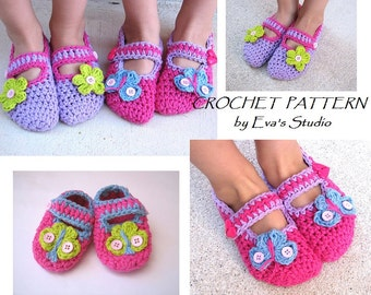 Childrens Slippers, Mary Jane  Slippers, Crochet Pattern PDF,Easy, Great for Beginners, Shoes Crochet Pattern Slippers,Pattern No. 3