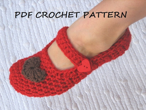 Mary Jane Slippers Crochet Pattern Pdfeasy Great For Etsy