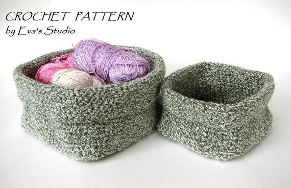 Crochet Square Basket 2 Sizes Crochet Pattern Easy Etsy