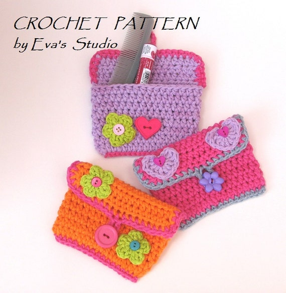 Girls Purse Wallet With Flower And Heart Crochet Pattern Etsy