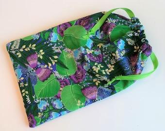 Green & Purple Gift Bag, reusable drawstring bag for gift giving - American Made