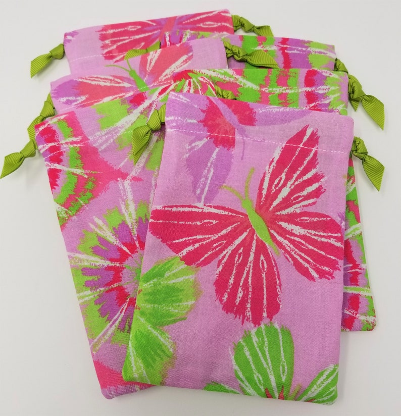 Butterfly Tie-Dye 4x6 Pink Green Favor Bag USA Made Set of Six paperless wastefree living