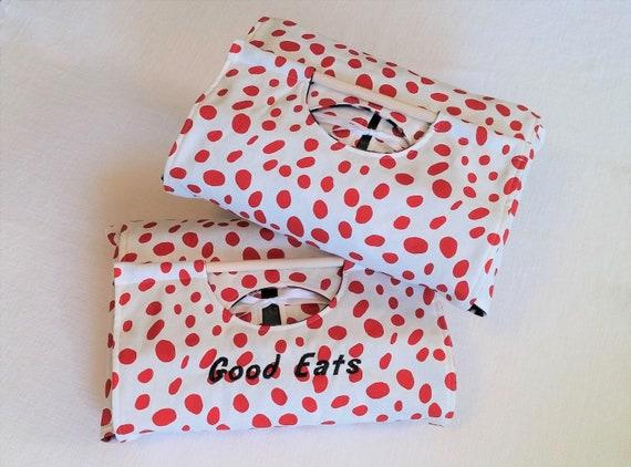 Rouge tacheté fourre-tout plat 9 x 13 - rouge noir blanc, broderie monogramme en option, livraison gratuite Made in USA