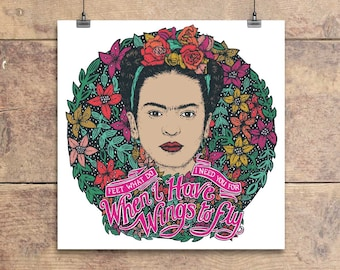 Frida Kahlo - Wings to Fly - Quote - Greeting Card - Feminist - Feminism