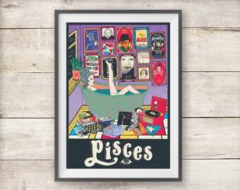 Pisces Print - Astrology - Horoscope - Zodiac Print - Pisces Birthday Gift