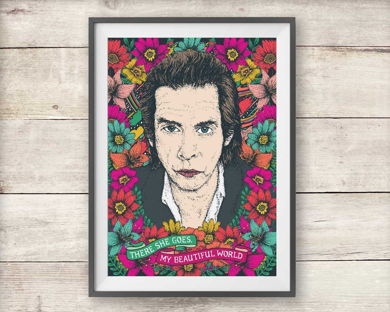 Nick Cave Stampa There She Goes Mio Bellissimo Mondo Lirico Etsy