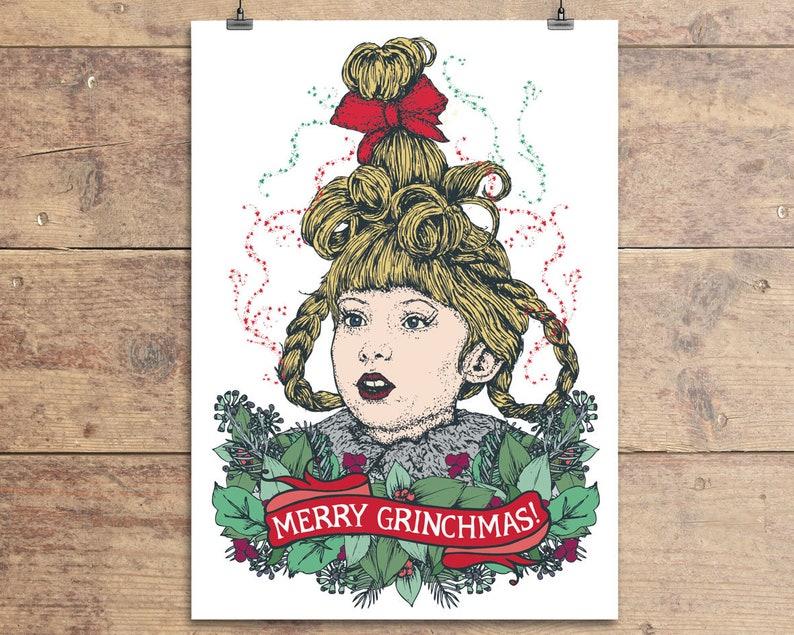 Grinch Christmas Card Cindy Lou Who Xmas Card How The Etsy