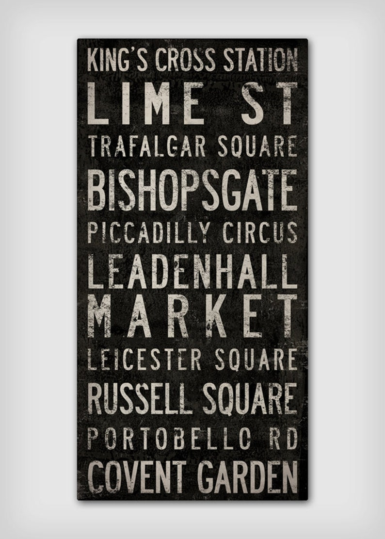 Stretched Canvas Wall Art CUSTOM READY to HANG Text Typography Cities Tram Bus Train Scroll Transit Wedding Retirement Engagement GIft