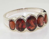 Solid 925 Sterling Silver Natural Garnet Half Eternity Ring, Anniversary Ring, English Design Five Stone Band - Customizable