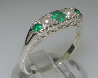 Solid 925 Sterling Silver Natural Emerald womens Band Ring Rose or White Gold or Platinum Customizable 9K,10K,14K,18K Yellow