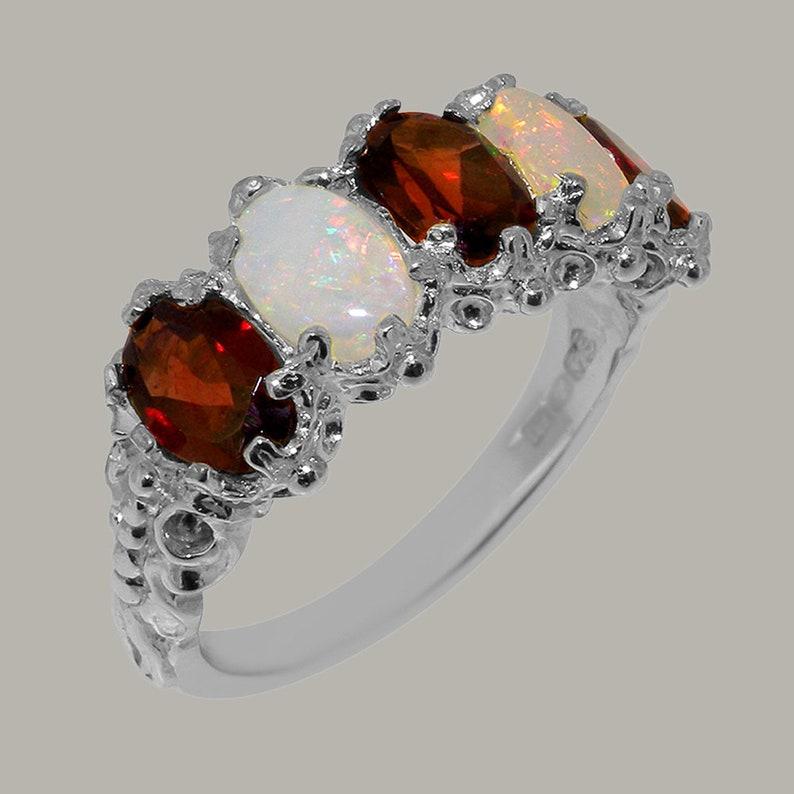 Rose or White Gold or Platinum 10k White Gold Natural Garnet /& Opal Womens Eternity Ring Customizable 9K,10K,14K,18K Yellow
